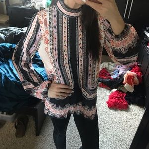 Vici smocked print blouse